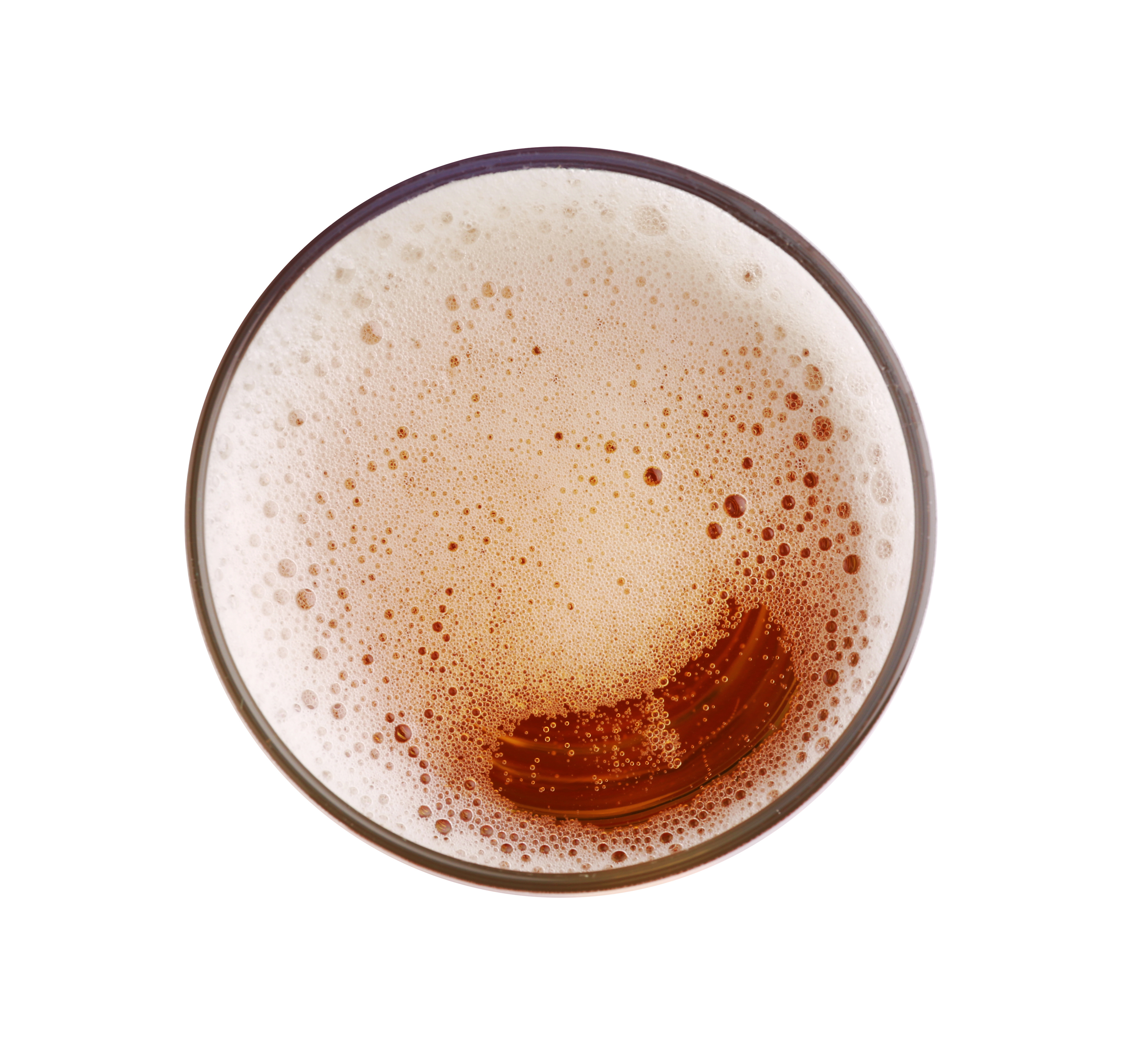 Glass of fresh beer on white background, top view